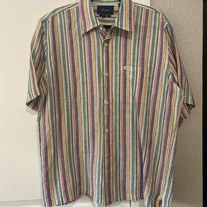 Faconnable Short Sleeve Linen Dress Shirt - Size M